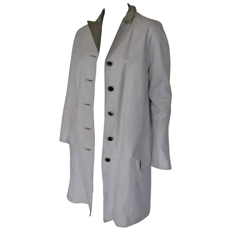 Gianni versace white leather coat