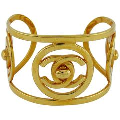 Chanel Vintage 1997 Rare CC Turnlock Gold Toned Cuff Bracelet