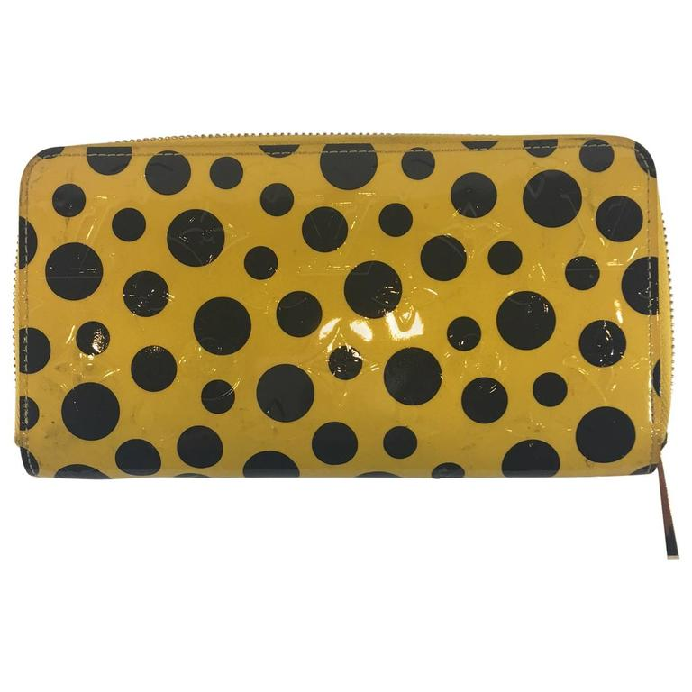 2012 Louis Vuitton Limited Edition Kusama Yellow Monogram Vernis Dots Wallet