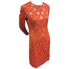 1960s I. Magnin Burnt Orange Lamé Brocade Shift Dress