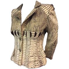 Amazing 1980s Haute Couture Givenchy Natural Snakeskin Fitted Jacket