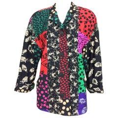 Koos Van Den Akker Couture mix print patch jacket 1980s size L