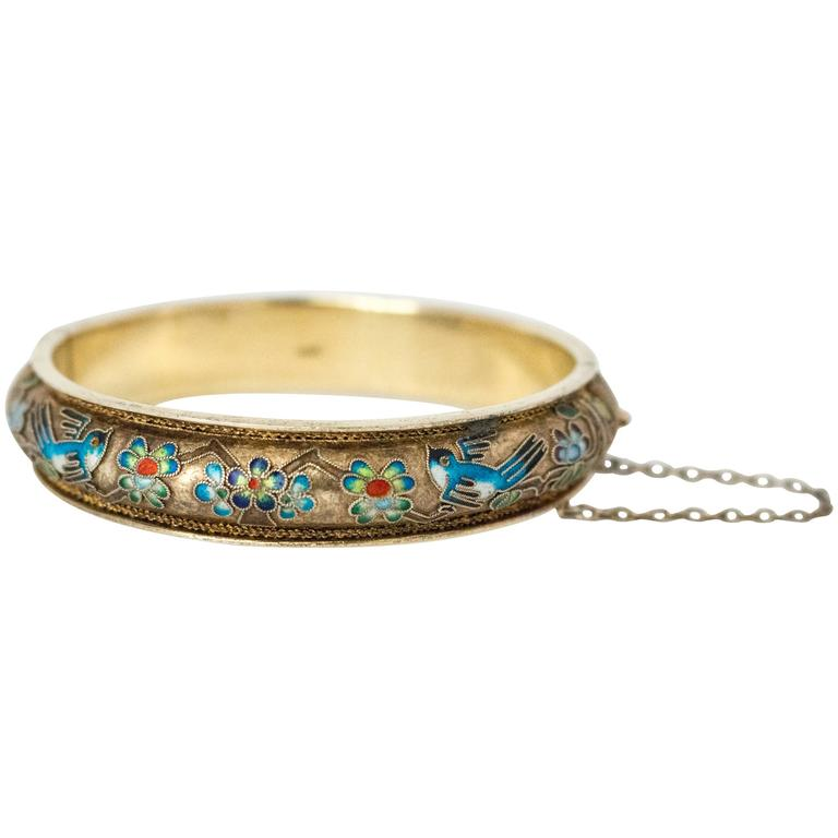 50s Champleve Silver Bangle with a Gold Wash, Enamel Blue Birds & Flowers For Sale