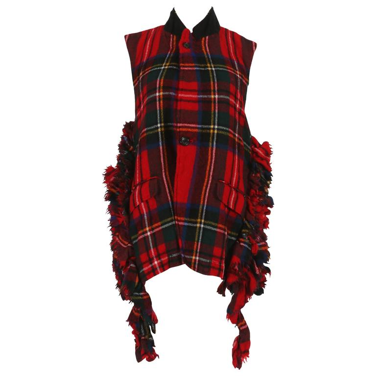 Comme des Garcons Plaid Gilet With Metal Chain Closure, circa 2000