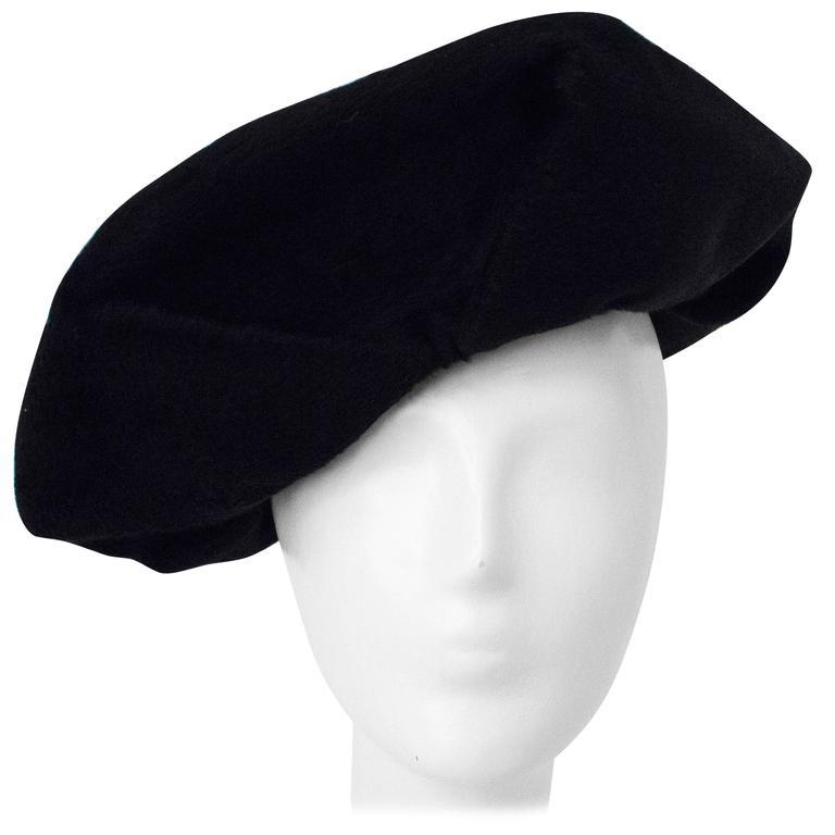 30s Hattie Carnegie Black Fur Felt Beret Style Hat