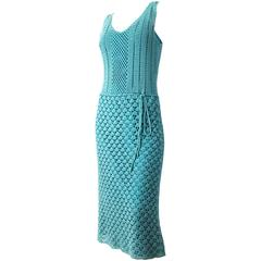 70s Aqua Blue Crochet Sleeveless Dress with Slip