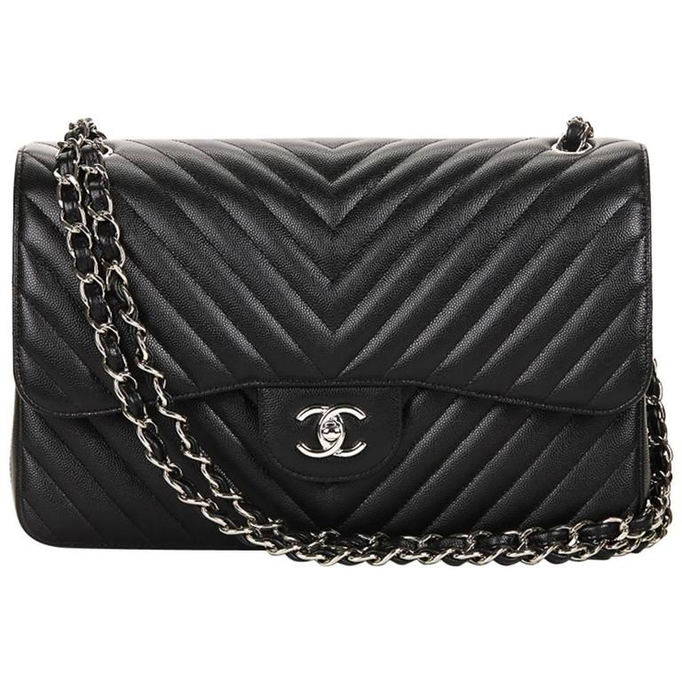 940440340c80 2016 Chanel Black Chevron Quilted Caviar Leather Jumbo Classic Double For  Sale
