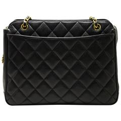 CHANEL Authentic Sun Caviar Large Chain Shoulder Bag Leather Black Quilted 755