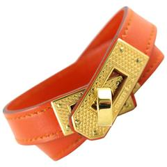 Hermes Orange Guilloche KDT Kelly Double Tour Bracelet Bangle - Rare