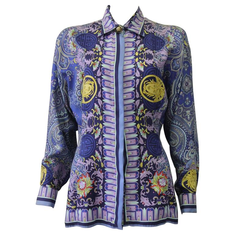 Unique Gianni Versace Couture Silk Printed Shirt Fall/Winter 1994