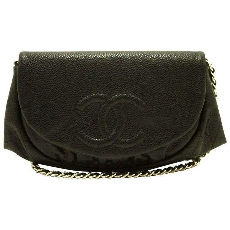Authentic CHANEL Caviar Half Moon WOC Wallet On Chain Clutch Shoulder Bag f05 1