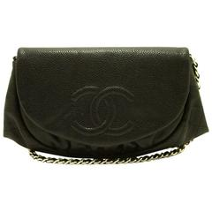 Authentic CHANEL Caviar Half Moon WOC Wallet On Chain Clutch Shoulder Bag f05