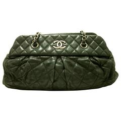 Authentic CHANEL 2011 Calfskin Antique Silver Chain Shoulder Bag Black Zip f09