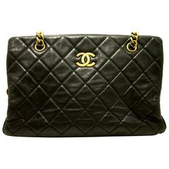 Authentic CHANEL Calfskin 2012 Antique Gold Chain Shoulder Bag Black Quilted f17