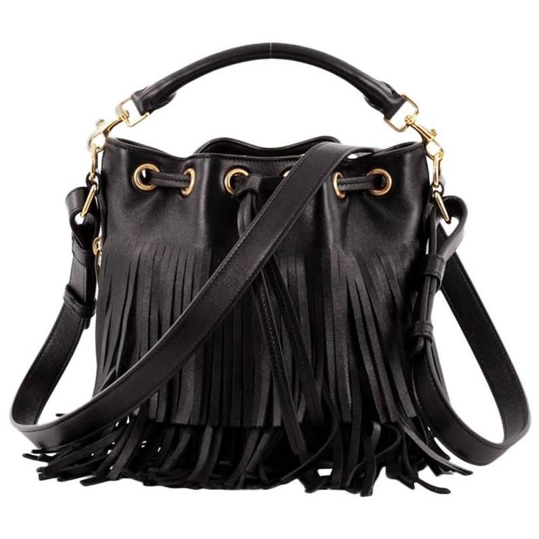 Saint Laurent Fringe Emmanuelle Bucket Bag Leather Small For Sale