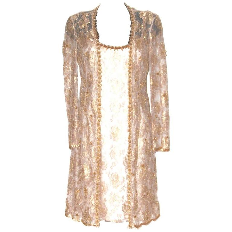 Escada Knee Length Gold Beige Floral Lace Evening Dress Long Jacket