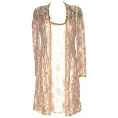 ESCADA Knee-Length Gold Beige Floral Lace Evening Dress & Long Jacket