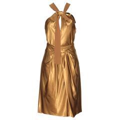 SONIA RYKIEL Bronze-tone Top and Knee-Length Skirt Evening Ensemble