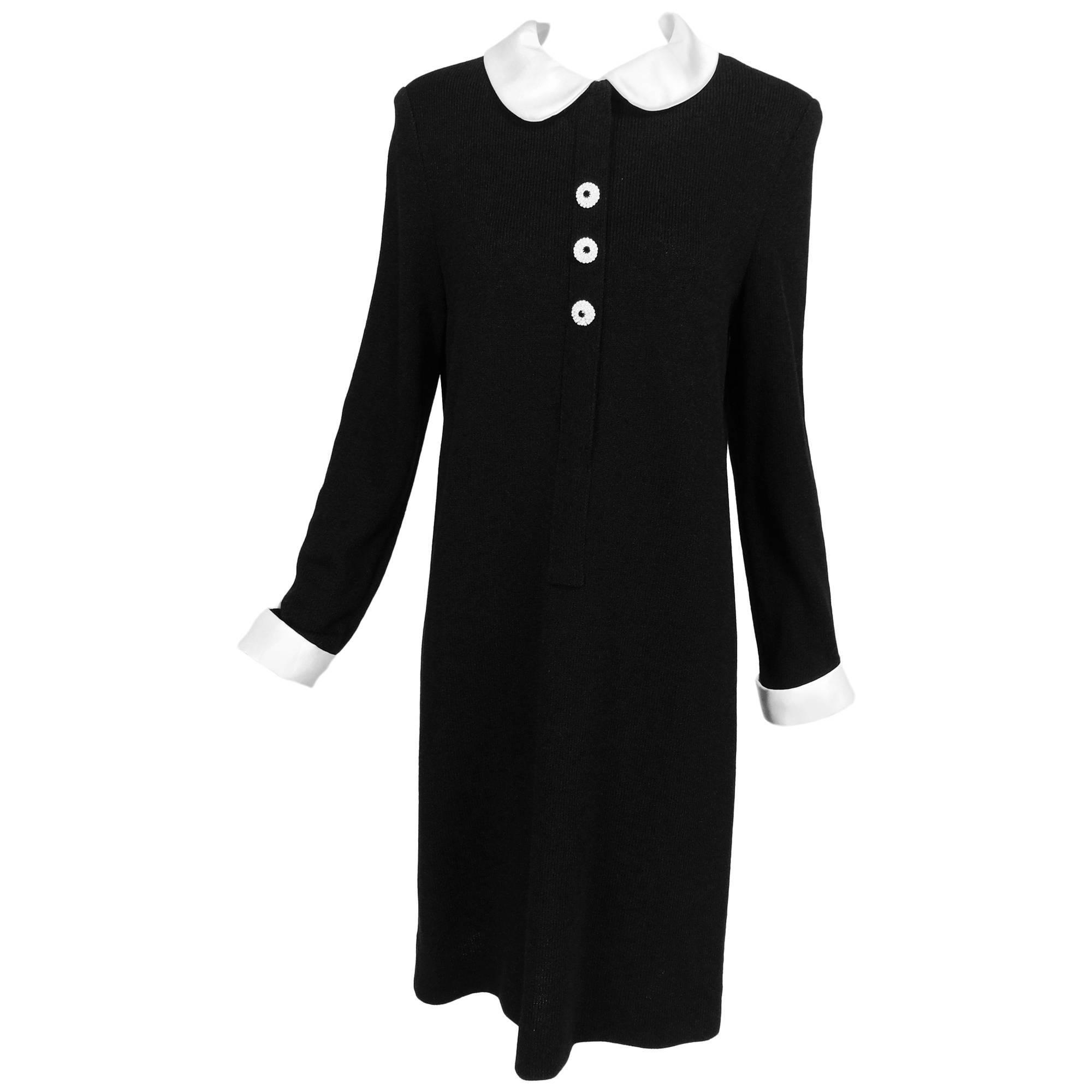 Adolfo black knit A line dress with white satin collar & cuffs 1970s size 12