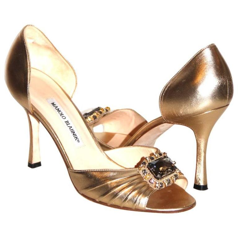"Manolo Blahnik Gold Leather Pumps ""Sedaraby"" - Open-Toe - EU 39.5 1"