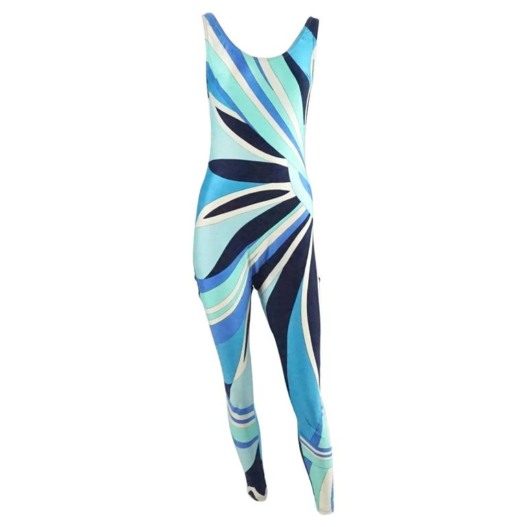 Emilio Pucci Blue Printed Sleeveless Jumpsuit - L - 1970's  For Sale