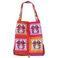 Hermes Silkypop Tote Shopper Handbag Mini Brides de Gala Pink Orange Silk
