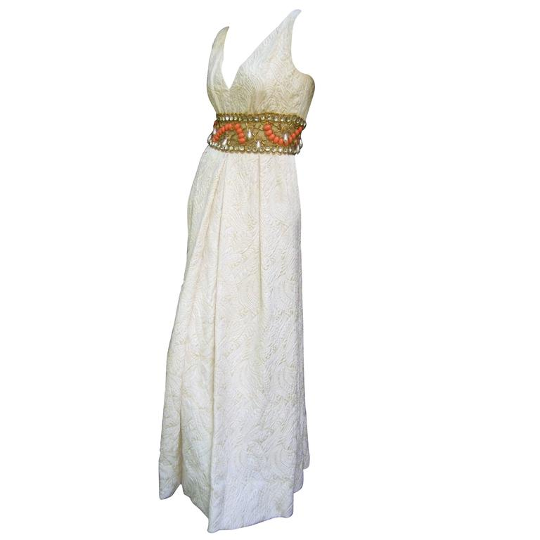 423bb729af34 Ceil Chapman Stunning Ivory Brocade Jeweled Empire Gown c 1960 For Sale