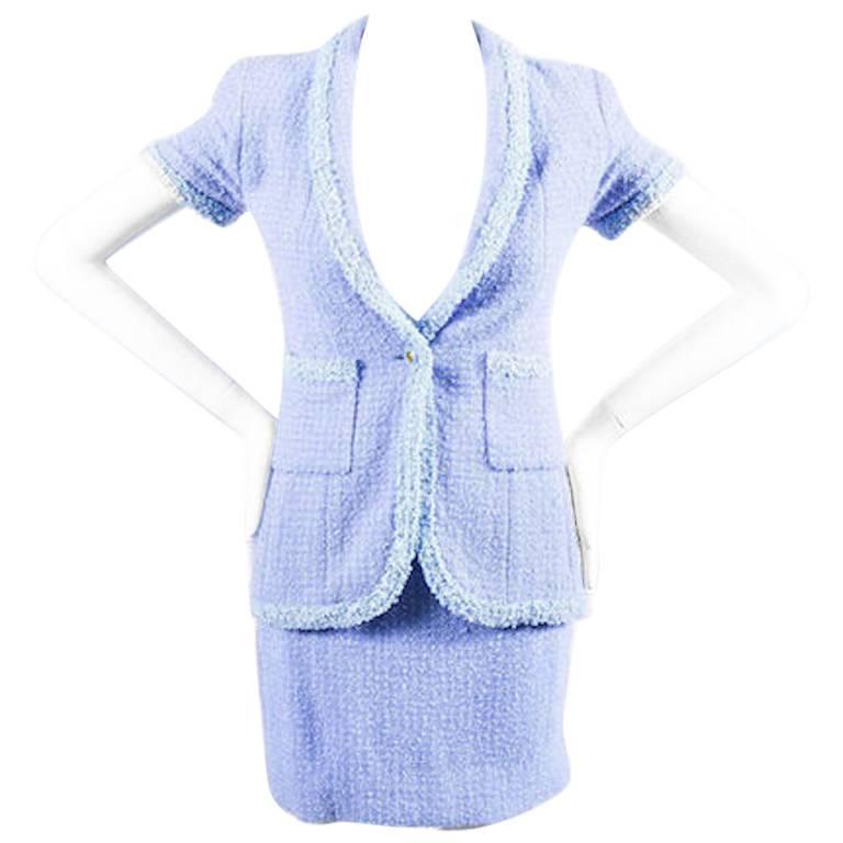 Chanel Boutique 95P Periwinkle Metallic Tweed Sequin Trim SS Skirt Suit Size 38 1