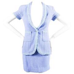 Chanel Boutique 95P Periwinkle Metallic Tweed Sequin Trim SS Skirt Suit Size 38