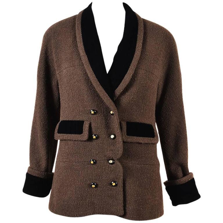 Chanel Boutique Brown Tweed Black Velvet Trim Gold Clover