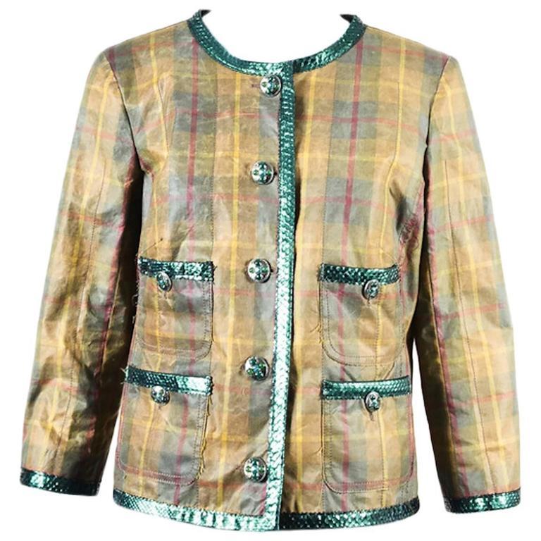 Chanel Tan Green Plaid Python Trim Gunmetal Tone Gripoix Button Jacket SZ 46 1