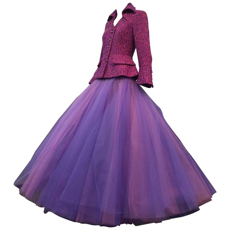 1990 JACQUES FATH Wool Tweed Jacket and Tulle Ball Skirt in Pink and Purple