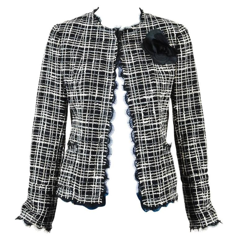 Chanel Black White Tweed Open Front Jacket Size 38 1
