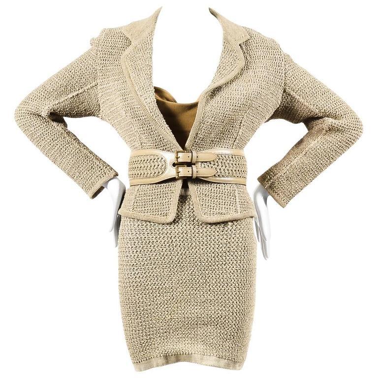 Vintage Alaia Beige Tan Linen Knit 5 Piece Bodysuit & Skirt Suit Set SZ XS S M 1