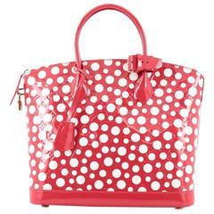 Louis Vuitton Lockit Handbag Monogram Vernis Kusama Infinity Dots MM