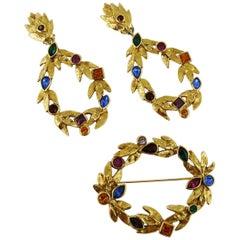 Yves Saint Laurent Vintage Bejeweled Laurel Wreath Earrings and Brooch Set