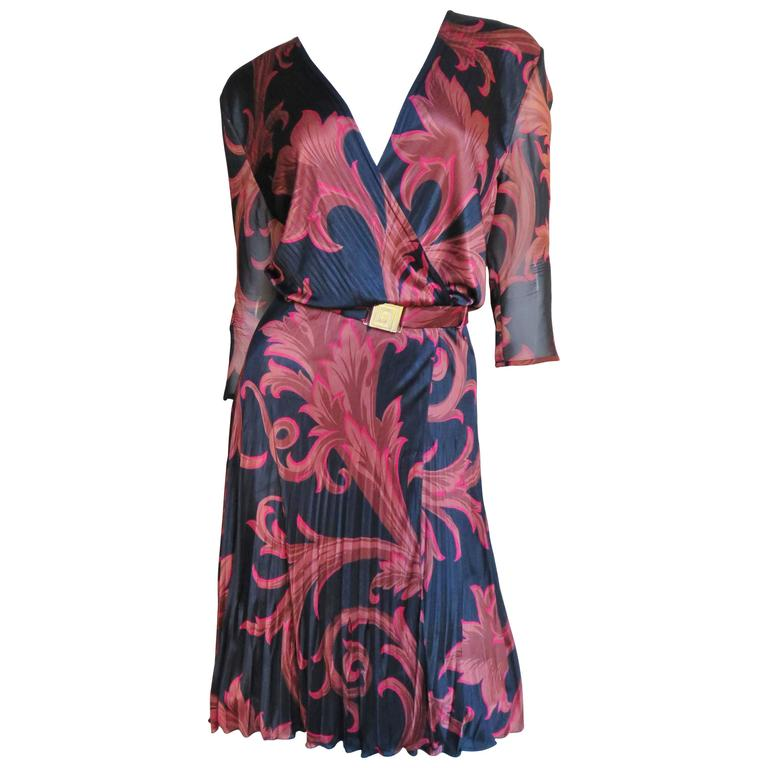 1990s Gianni Versace Baroque Print Silk Wrap Dress