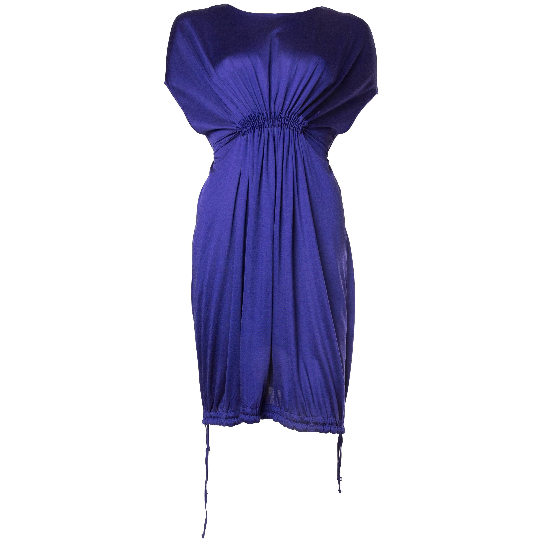 1990S JIL SANDER Sapphire Blue  Jersey Empire Waist Drawstring Dress