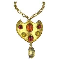 1980's Dominique Aurientis gripoix Shield Necklace New, Never Worn