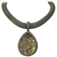 Stephen Dweck Sterling Silver Intagalo Necklace 1990s New never worn