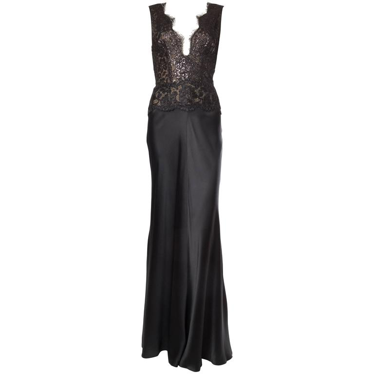 Bergdorf Goodman Bias Cut Lace Gown