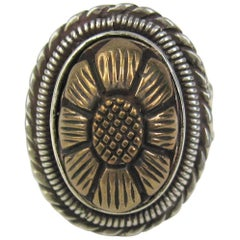 1990s Stephen DWECK sterling silver Floral carved ring - New, Never Worn
