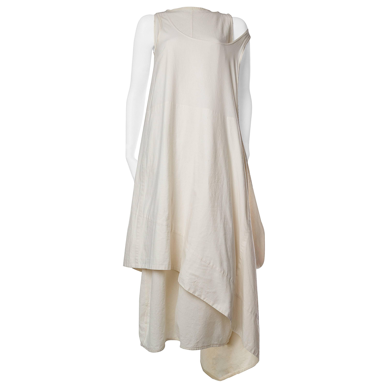1990S COMME DES GARCONS Cream Cotton Minimalist Two Piece Dress