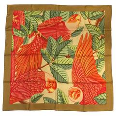 Hermes Les Perroquets in Detail Silk Twill Scarf by Joachim Metz