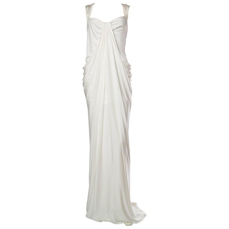 Donna Karan White Silk Jersey Gown