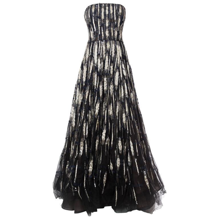 Oscar De La Renta Beaded Tulle Gown For Sale