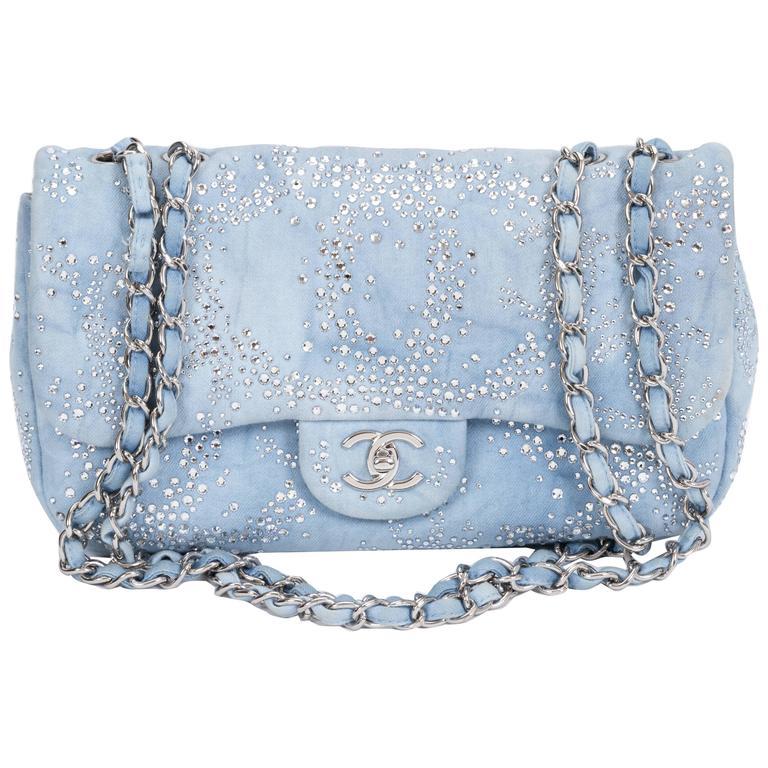 Chanel Rhinestone & Denim Flap Bag 1