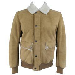 Men's DKNY 42 Tan Shearling Cream Collar Snap Zip Trucker Jacket