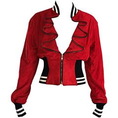 Rare Vintage Byron Lars 1990s Red Leather Suede Varsity 90s ' Zipper ' Jacket