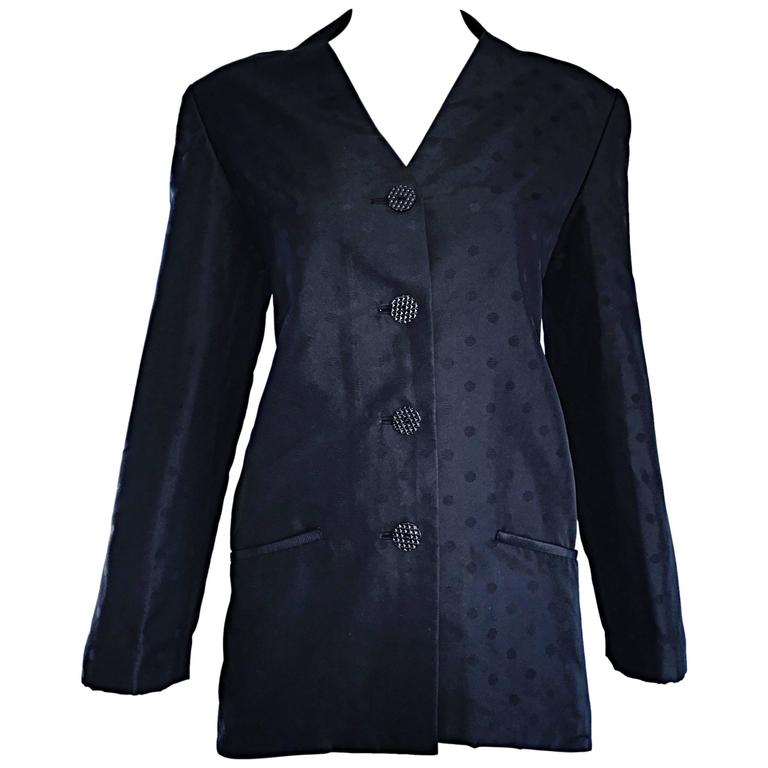 Geoffrey Beene Vintage Black Polka Dots 1990s 90s Classic Silk Jacket Blazer 1